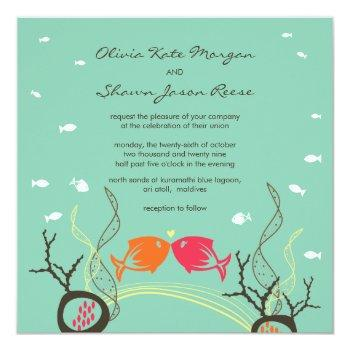 Small Kissing Fishes Corals Beach Whimsical Cute Wedding Invitation Front View