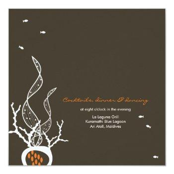 Small Kissing Fishes Corals Beach Whimsical Cute Wedding Invitation Back View