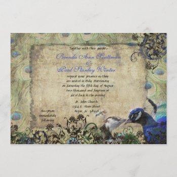 kissing peacock vintage wedding invitation