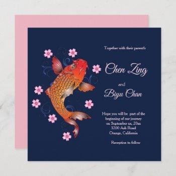 koi fish custom wedding invitation