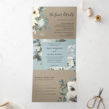 kraft ivory white floral watercolor bunch wedding tri-fold invitation