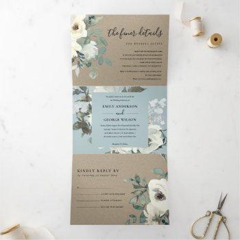 kraft ivory white floral watercolor bunch wedding tri-fold invitation