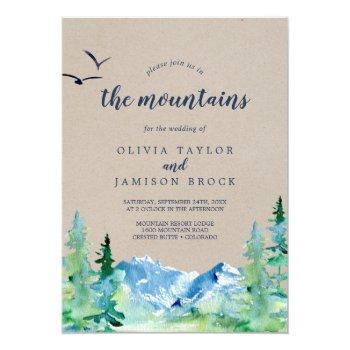 kraft join us in the mountains destination wedding invitation
