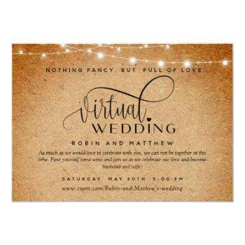 Small Kraft Paper And Lights, Online Virtual Wedding Invitation Front View