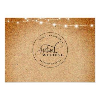 Small Kraft Paper And Lights, Online Virtual Wedding Invitation Back View