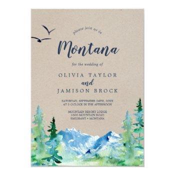 kraft rocky mountain montana destination wedding invitation