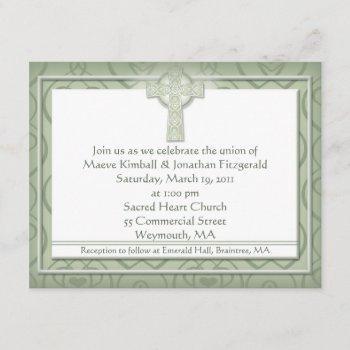 krw elegant celtic cross irish wedding invitation