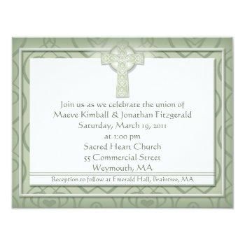 krw elegant celtic cross irish wedding invitation