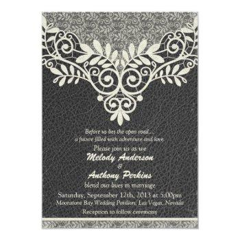 lace leather rustic black ivory biker wedding invitation