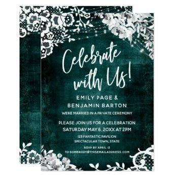 lace, lights & floral over teal celebrate with us invitation