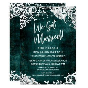 lace, lights & floral over teal we got married! invitation