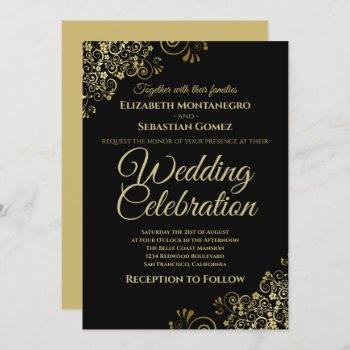 lacy gold filigree on black simple elegant wedding invitation