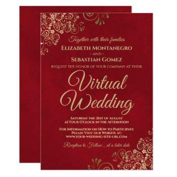 lacy gold frills on red elegant virtual wedding invitation