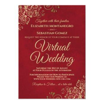 Small Lacy Gold Frills On Red Elegant Virtual Wedding Invitation Front View