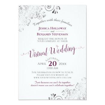 Small Lacy Silver Cassis Purple & White Virtual Wedding Invitation Front View