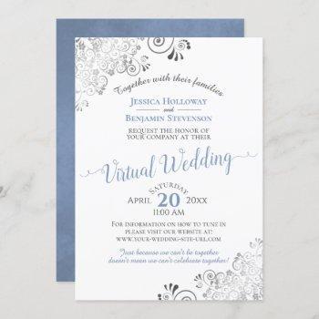 lacy silver elegant blue & white virtual wedding invitation