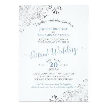 Small Lacy Silver Elegant Blue & White Virtual Wedding Invitation Front View
