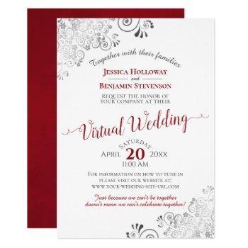 lacy silver elegant red & white virtual wedding invitation