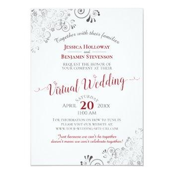 Small Lacy Silver Elegant Red & White Virtual Wedding Invitation Front View