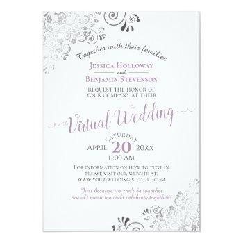 Small Lacy Silver Lavender & White Virtual Wedding Invitation Front View