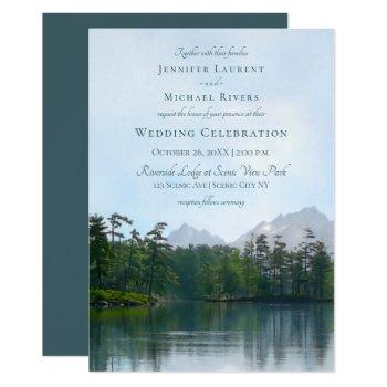 lake in the mountains rustic wedding invitation