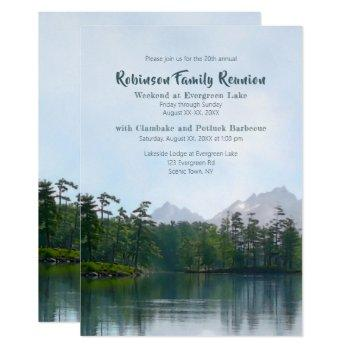 lake mountains family reunion camping weekend invitation