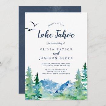 lake tahoe mountain destination wedding invitation
