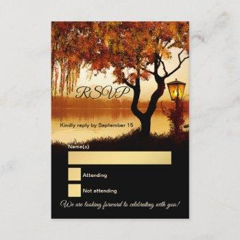 lake view tree fall wedding rsvp card