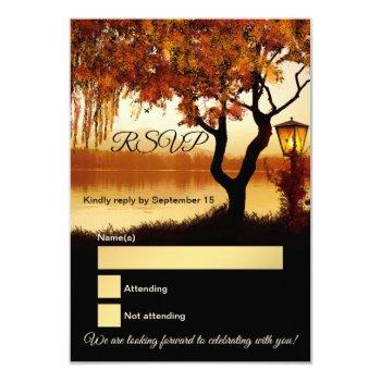 lake view tree fall wedding rsvp card