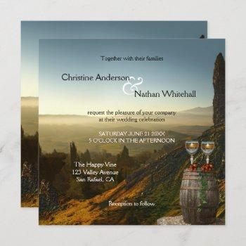 landscape wine vineyard winery wedding invitation