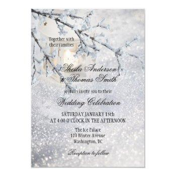 lantern sparkling snow winter wedding invitation