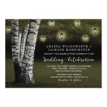lanterns + rustic birch tree wedding invitations