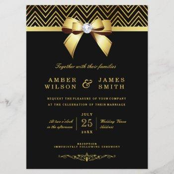 large black gold chevrons diamond bow wedding invitation