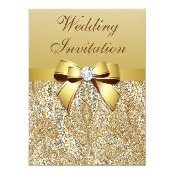 large faux gold sequins and bow wedding invitation