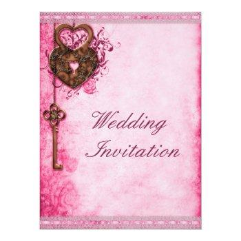 large romantic hearts lock and key pink wedding invitation