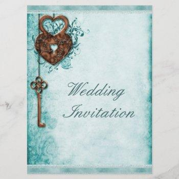 large romantic hearts lock and key teal wedding invitation