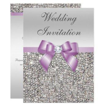 large wedding faux silver sequins lilac bow invitation