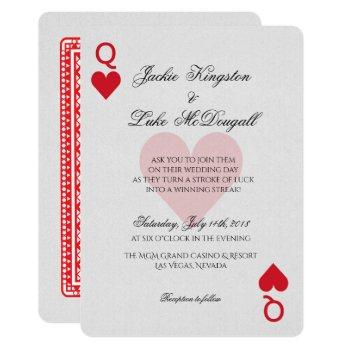 las vegas casino playing card wedding invitation