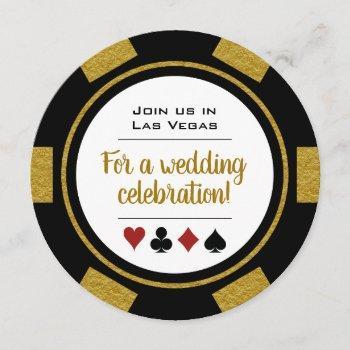 las vegas casino poker chip black and gold wedding invitation
