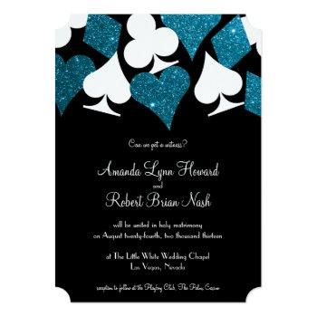 las vegas destiny malibu blue glitter wedding invitation