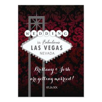 las vegas red black damask wedding invitation