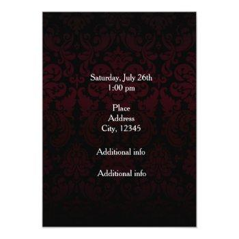 Small Las Vegas Red Black Damask Wedding Invitation Back View