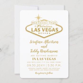 las vegas sign in gold white wedding invitation