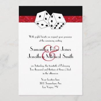 las vegas wedding dice theme ruby red faux glitter invitation
