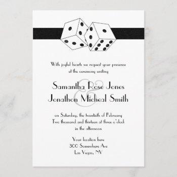 las vegas wedding dice theme white and black invitation