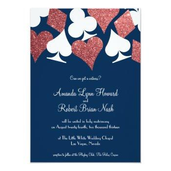 las vegas wedding navy with rose gold glitter invitation