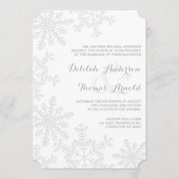 laser-cut snowflakes elegant winter wedding invite