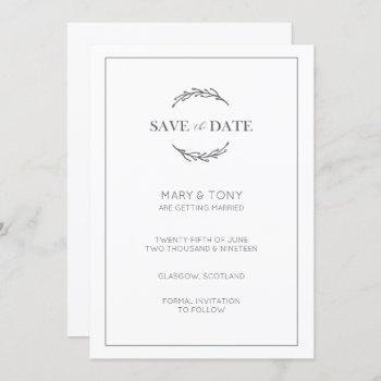 laurel leaf classic wedding save the date invite