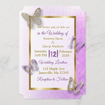 lavender and gold butterfly wedding invitations