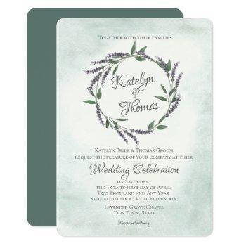 lavender and sage wedding wreath invitation